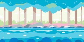 Forest Game Background Flat Landscape illustration stock