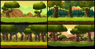 Forest Game background Vector set Royalty Free Stock Image