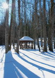 Forest with a Gazebo in Winter Stock Photos