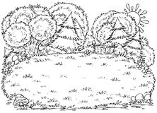 Forest glade. Black-and-white illustration (coloring page): glade in a forest Royalty Free Stock Photo