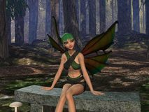 Forest Glade. A young fae sits amidst a forest glade. Computer generated Image, 3D models Royalty Free Stock Image