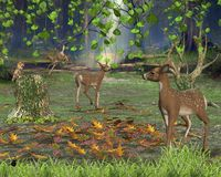 Forest Glade. Digital render of forest creatures in a sunny glade Stock Images