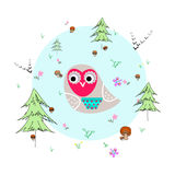 Forest glade with animals and plants. Forest glade with owl, animals and plants. Forest background. Print for children. Background for kids Stock Photo