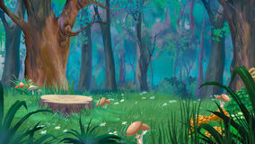 Forest Glade with Big Stump and Mushrooms in a Summer Day. Mushrooms around the stump in a forest glade. Digital Painting Background, Illustration in cartoon Stock Image