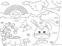 Forest glade with a hare, stub, strawberries, butterfly, trees, Stock Images