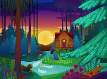 Forest glade with house in the evening. Vector illustration Royalty Free Stock Photos