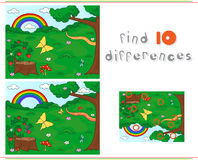 Forest Glade With A Stub, Strawberries, Butterfly, Trees, Rainbow And Flowers. Educational Game For Kids: Find Ten Differences Stock Photography