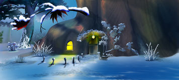 Forest Gnome`s House in the New Year`s Eve Royalty Free Stock Images