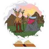 The forest god and the enchanted princess.  stock illustration