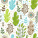 Forest leaves seamless vector pattern. Spring or summer nature background in colors of blue, green, beige and white Stock Image