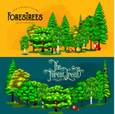Forest green trees on the grass bush in summer landscape background. Cartoon vector set trees in outdoor park. Outdoor Royalty Free Stock Photography