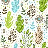 Forest Green y patteran inconsútil azul en estilo del garabato con las hojas Fondo de la primavera y de la naturaleza del verano  Imagen de archivo