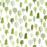 Forest - hand drawn seamless pattern with sketch green trees illustration  on the white background. Royalty Free Stock Image