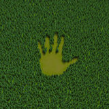 Forest hand print. 3D illustration of hand shaped clearing in coniferous forest Royalty Free Stock Photography