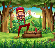 A forest with a happy lumberjack Stock Images