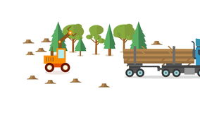 Forest harvester icon in circle, wheeled feller buncher flat animation stock video footage