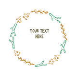 Forest Herbs Hand Drawn Doodle Wreath, Vector Illustration Royalty Free Stock Photos