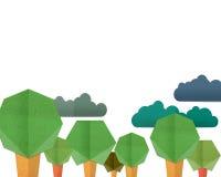Forest Hill en kleurrijke Wolkenachtergrond, document cut-and-paste Stock Afbeelding