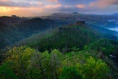 Forest Hills,在砂岩峭壁的美好的早晨视图到深有薄雾的谷里在Bohemin瑞士,有雾的背景,雾 免版税图库摄影