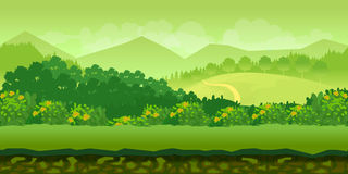 Forest and hills game background 2d  application.. Forest and Hills cartoon landscape with separated layers, summer day illustration 1024x512 Stock Photography