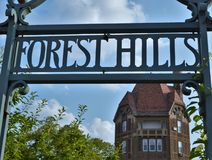 Forest Hills Sign with Dome Building Architecture Background royalty free stock photos