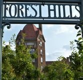 Forest Hills Sign with Dome Building Architecture Background Vertical Image stock photos