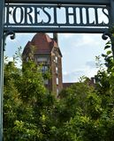 Forest Hills Sign with Dome Building Architecture Background Vertical Image royalty free stock photos