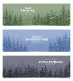 Forest horizon banners. Pine trees backgrounds vector illustration Royalty Free Stock Image