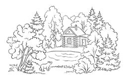 Free Forest House Near A Lake - Coloring Book Illustration Stock Image - 121913191