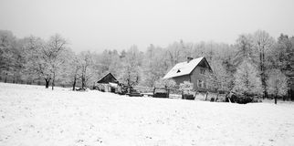 Forest house in winter Stock Photo
