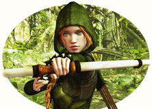 Forest Hunter. An archer girl in Robin Hood clothing Stock Photography