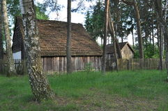 Forest Hut With Straw Roof. In Bory Tucholskie forests in nothern Poland, Kasparus village Stock Photos