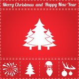 Forest Icon Vector. And bonus symbol for New Year - Santa Claus, Christmas Tree, Firework, Balls on deer antlers Stock Photo