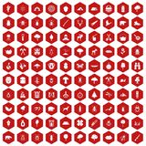 100 forest icons hexagon red. 100 forest icons set in red hexagon isolated vector illustration Royalty Free Stock Photos
