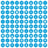 100 forest icons set blue. 100 forest icons set in blue hexagon isolated vector illustration Vector Illustration