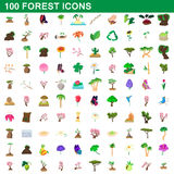 100 forest icons set, cartoon style. 100 forest icons set in cartoon style for any design vector illustration Stock Photo