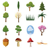 Forest icons set, cartoon style Stock Photo