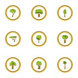 Forest icons set, cartoon style. Forest icons set. Cartoon style set of 9 forest vector icons for web design Stock Images