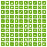 100 forest icons set grunge green. 100 forest icons set in grunge style green color isolated on white background vector illustration Stock Photo