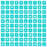 100 forest icons set grunge blue. 100 forest icons set in grunge style blue color isolated on white background vector illustration Stock Photography