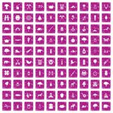 100 forest icons set grunge pink. 100 forest icons set in grunge style pink color isolated on white background vector illustration Royalty Free Stock Image
