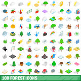 100 forest icons set, isometric 3d style Stock Photography
