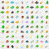 100 forest icons set, isometric 3d style. 100 forest icons set in isometric 3d style for any design vector illustration Royalty Free Stock Images