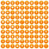 100 forest icons set orange. 100 forest icons set in orange circle isolated on white vector illustration Stock Images