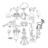 Forest icons set, outline style. Forest icons set. Outline set of 25 forest vector icons for web isolated on white background Stock Images
