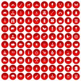 100 forest icons set red. 100 forest icons set in red circle isolated on white vector illustration Royalty Free Illustration