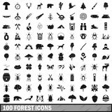 100 forest icons set in simple style Royalty Free Stock Photos