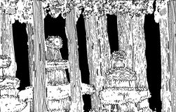 Forest Illustration Black and White Royalty Free Stock Photography