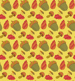 Forest items vector seamless pattern with acorn, cone, mushroom and berries. Autumn background. Stock Photos