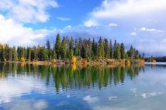 Forest and lake in autumn Stock Photo